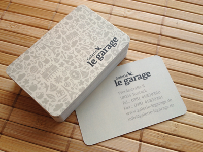 "Final Business Card ""Galerie le garage"" business card galerie le garage pattern shop artcore paper"
