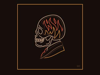 Skull evil dead flame fire skull design vector art blackboozeillustrations logo icon tattooart tattoo black illustration