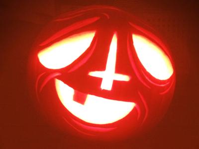 Pumpkin halloween pumpkin artcore illustration cross face character