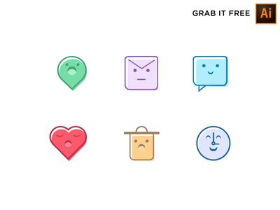 Cuticon - Grab it Free icon set face cute free freebie illustration icon