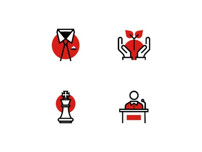 Exploring Style icon style business red glyphs illustration icon