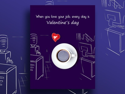 Love What You Do sketch color heart poster design office cup valentine