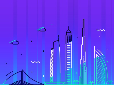 Skyline burj khalifa neon design clouds illustration color vector skyline uae dubai