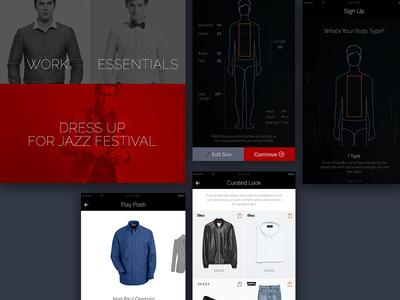 Ecommerce chart shopping cart buy clothes fashion ios black app