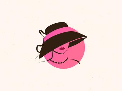 Retro Lady pink feminine stylish logo icon lady fashion retro