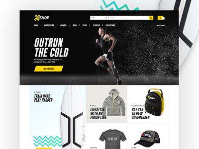 X SHOP gear ui sports website ecommerce