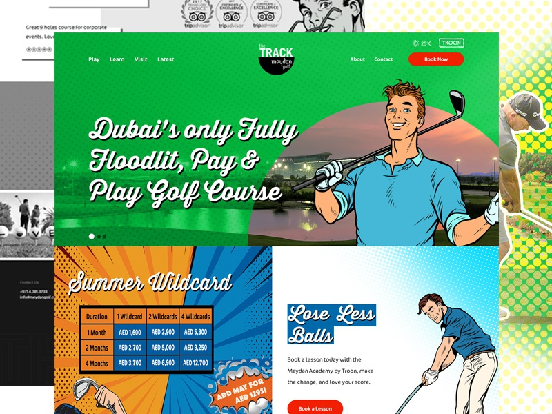 The Track, Meydan Golf vibrant colors colorful design web desgin pop art golf golf course website illustration ux ui