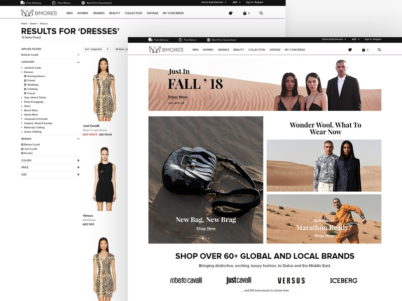 eCommerce Website for A Multi-Brand Boutique bags clothing brand results luxury product page category page shopping website ux design ui design fashion ecommerce