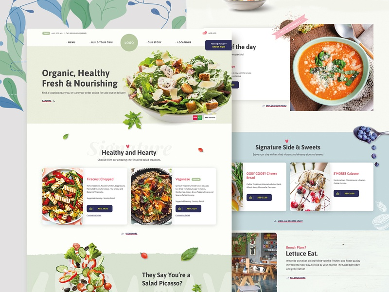 Conceptual Design for Healthy Food Website dishes sweet soup cake food website order food online shopping online shop ecommerce customize product customize salad web design website restaurant healthy lifestyle healthy food visual design ui design