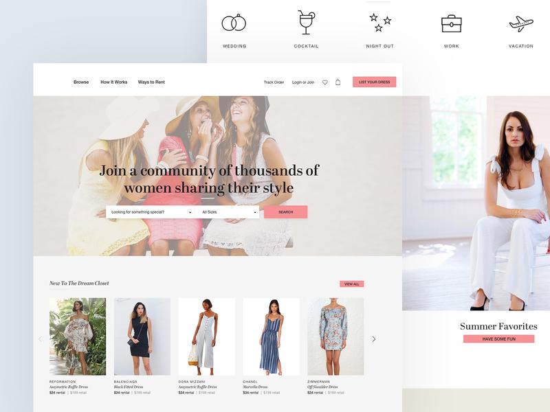 Rent & Borrow Concept women clothes wardrobe shop product page ecommerce design ecommerce pastel color clean minimal landing website ux design ui design concept design