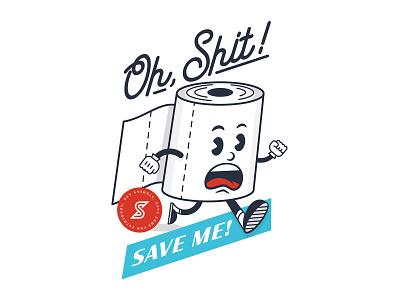 Save the TP! graphic design supah secret vintage illustration save the tp coronavirus toilet paper logo use a bidet toilet paper