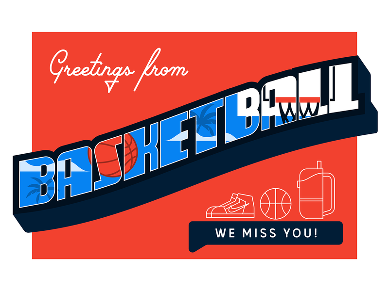 #31 Weekly Warm-up: Greetings from Basketball typography postcard design challenge miss basketball basketball postcard greeting card greetings weeklywarmup weekly warm-up dribbbleweeklywarmup