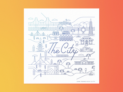The City map art map line art san francisco the city