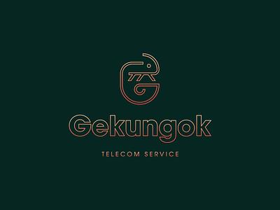 Gekungok logo gradient vector animal logo line work telecom service guam logo logo gecko logo gekungok telecom gecko