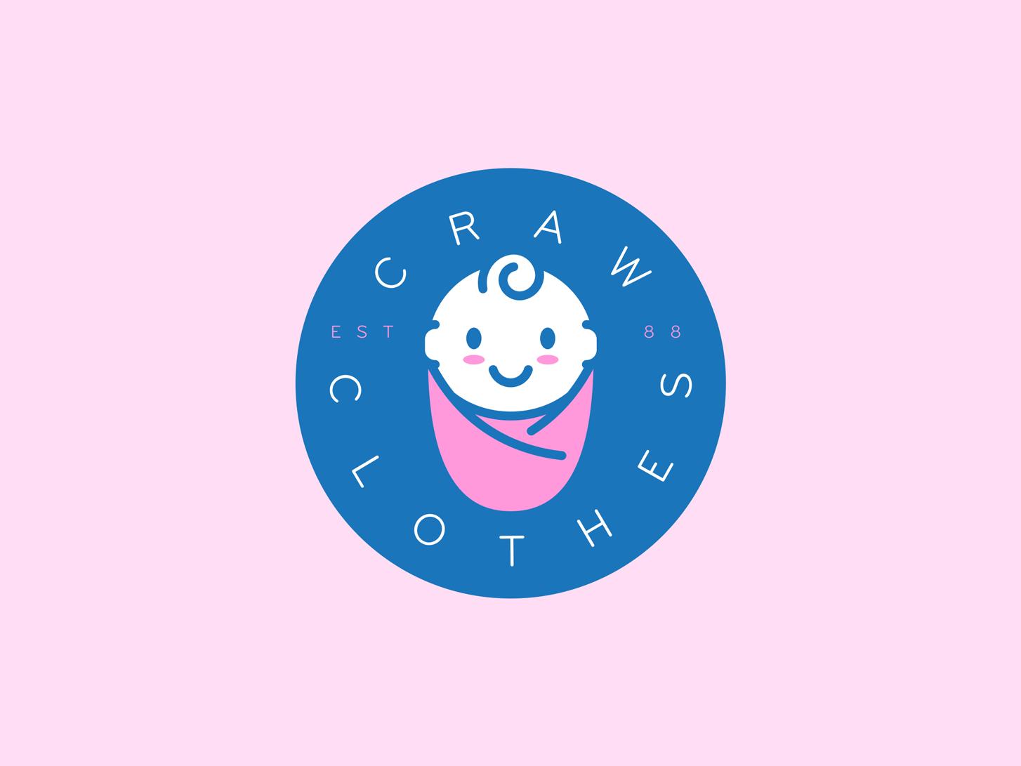 Craw Clothes Logo crawclothes daily logo challenge baby logo craw clothes line art day 46 graphic design logo dailylogo branding dailylogochallange