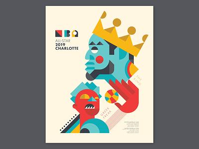 2019 NBA All-Star Poster nba charlotte the king sports poster graphic design poster cubism greek freak giannis antetokounmpo lebron james nba poster nba allstar 2019 nba allstar nba