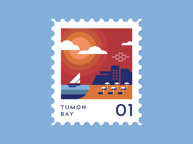 Tumon Bay guam graphic design guam tumon graphic design stamp design stamp guam beach tumon bay tumon