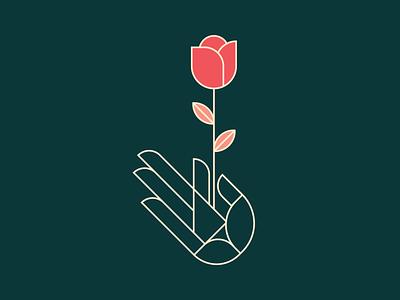 Growth Mindset rose logo hand graphic design lineart rose growth mindset growth