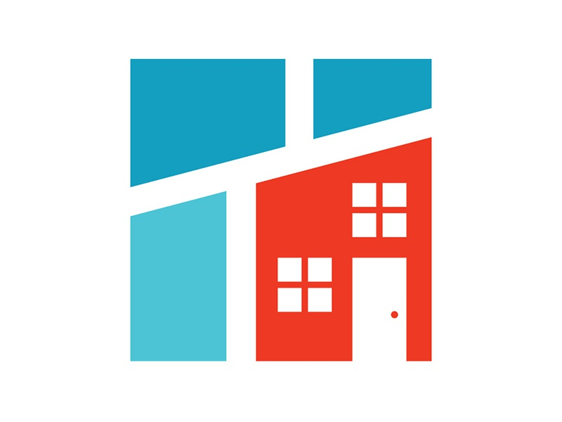 House / Map Icon door window community intersection logo icon neighborhood blue red map house