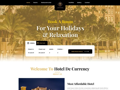 Hotel De Currency Landing Page dailyui motion graphics graphic design branding
