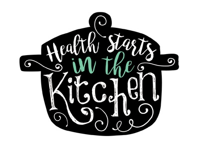 Nutrition health starts in kitchen logo v2 by erin for Kitchen decoration logo