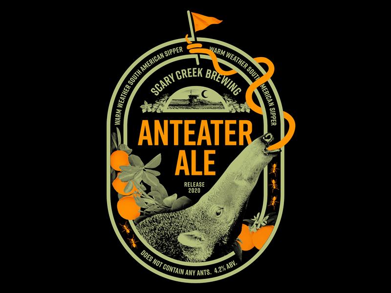 Anteater Ale label badge sticker brew branding bottle design label art label design package design packaging liquor wine label brewing beer label bottle art can art brewery beer can beer art beer