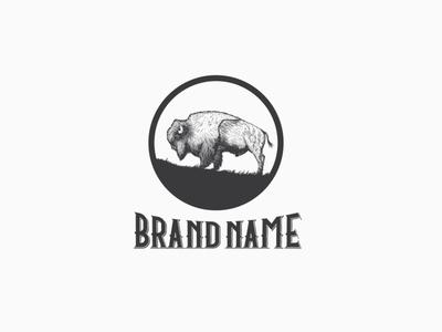 Vintage Bison Logo logo design wildness hand drawn bison brand logo illustration branding retro design vintage bison vintage logo animal bison logo for sale vector bison bison bull bison logo