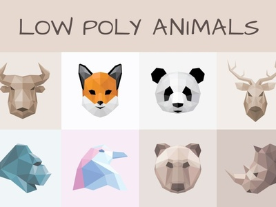 Low Poly Animals Bundle vector garden animal illustration bear branding animal logo illustration low polygon low poly art rhino logo penquin logo gorilla logo deer logo low poly geometric animals vector animals panda logo fox logo bull logo low poly animal