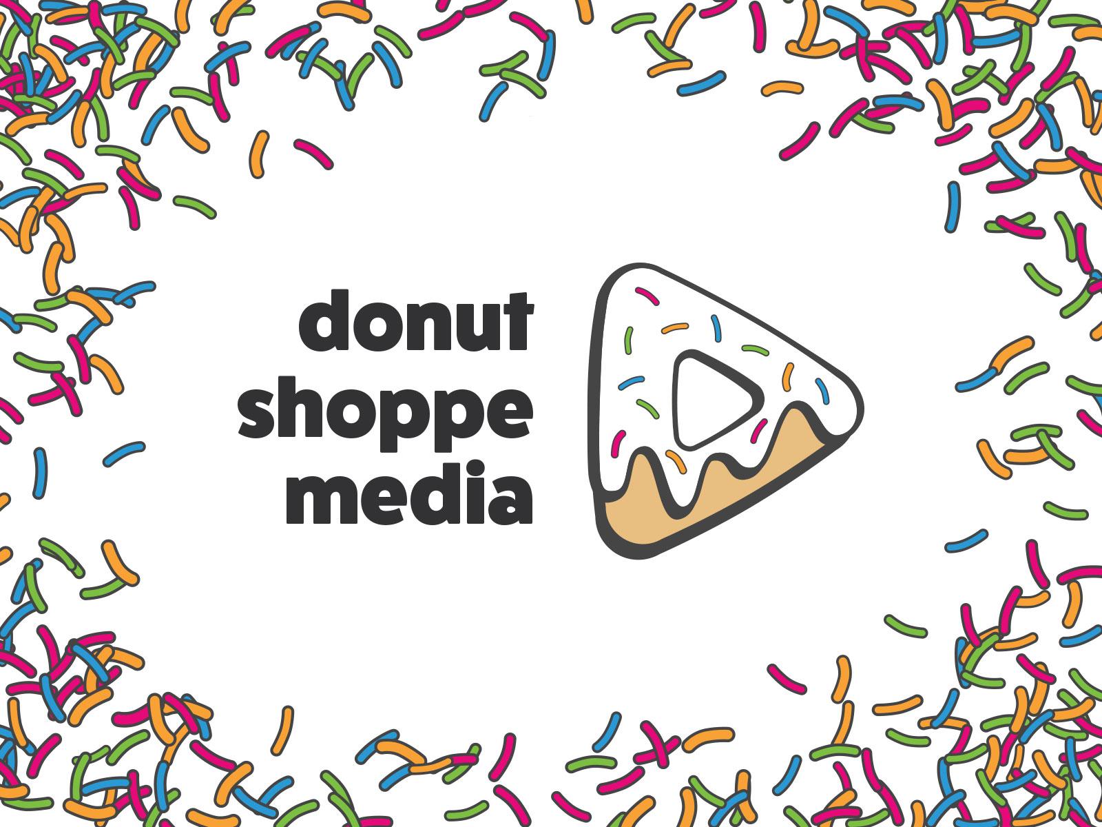 Donut Shoppe Media Logo branding sprinkles play button donut icon design logo