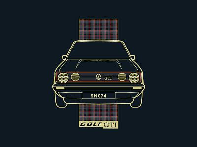Golf GTI illustrator illustration plaid auto automobile gti golf vector volkswagen vw car