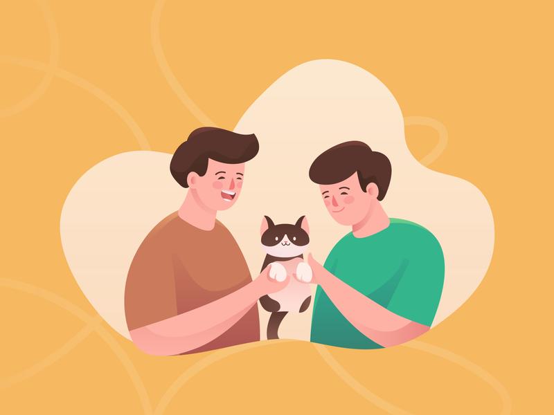 Couple ft Cat love couple cat illustrator art artist painting illustrator drawing artwork illustration