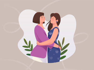 Couple with hug love couple lgbt lesbian rynguyen dribble artist painting illustrator drawing artwork illustration