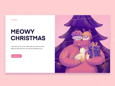 Meowy Christmas illustration christmas dribbble
