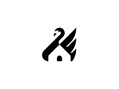 Swan House simple swan negative space real state vector logo symbol minimal illustrator illustration icon house home design clean branding brand black art abstract