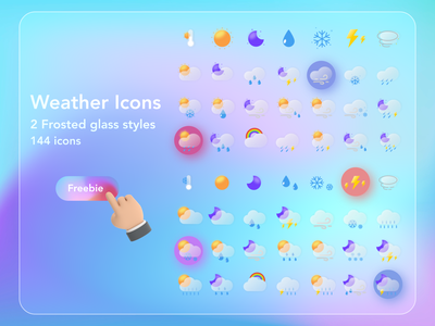 Weather Icons Frosted Glass glassmorphism weather icon weather icon design icon icon set uidesign design