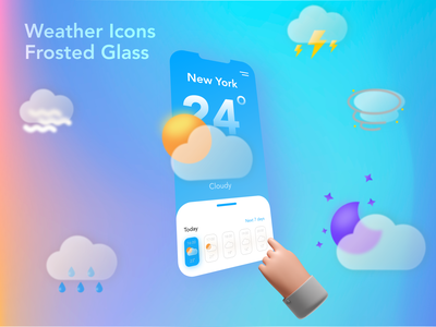 WeatherIcons Frosted Glass Rebound mobile app icon design icons weather icon icon set weather app weather