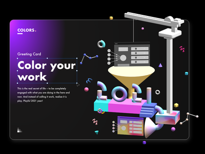 Color your work greeting card gradient colors 3d design