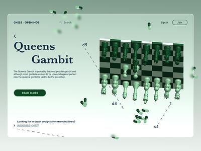 Queens Gambit - a different perspective landing page design 3d chessboard chess queensgambit