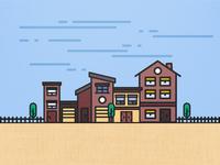Friendly Neighbourhood - Flat Illustration