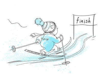 The winter ended. blue illustration skiing winter sketch quick photoshop graphic