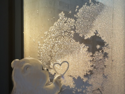 Drawing on a frosty window photography st.valentine love bear window frosty frozen drawind with finger drawing wacom photoshop photo