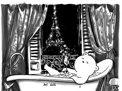 Night in Paris bathroom illustration wacom bear joy paris picture photoshop ink watercolor graphic