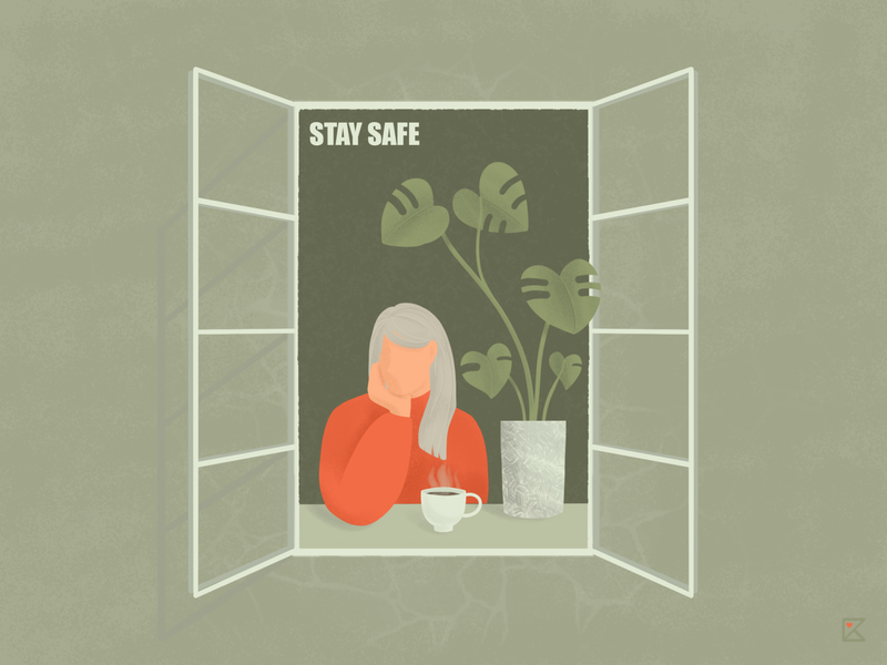 Window is a new vacation spot mood window girl texture color flat illustration artwork stay safe stayhome art plants flowers illustration photoshop flat