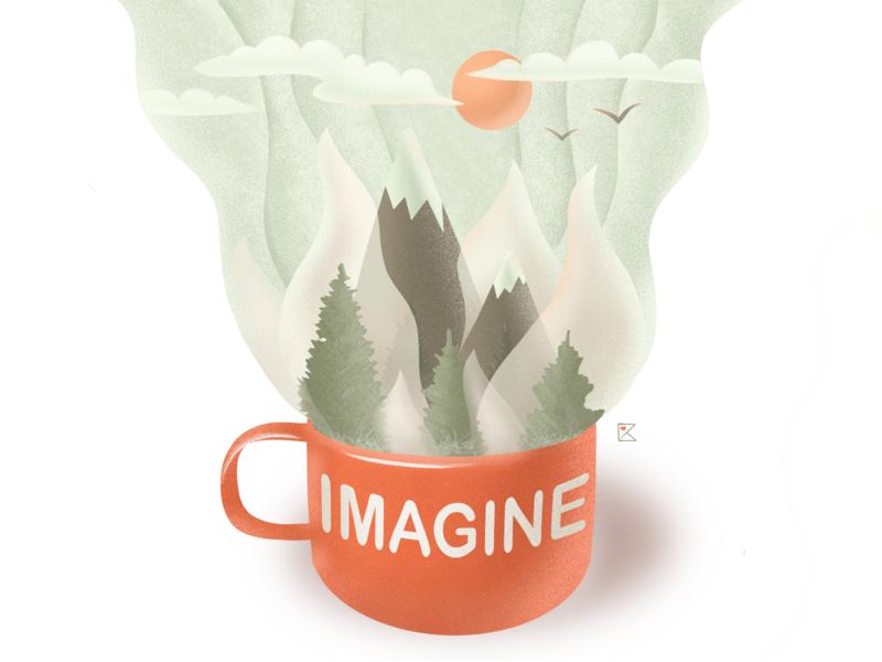 Imagine stay safe stayhome imagination nature mug mountains forest procreate texture flat illustration color artwork art illustration flat