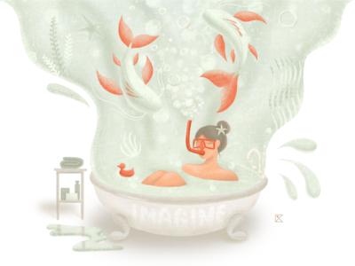 Imagine ipadpro water imagine ocean fishes bath stay safe stayhome girl procreate texture flat illustration color artwork art illustration