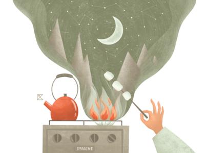 Imagine marshmallow stars moon campfire nightsky imagine stayhome stay safe ipadpro procreate texture color artwork art flat flat illustration illustration