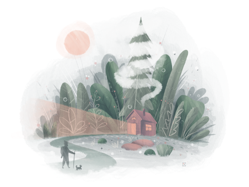 Coming Home plants forest shack cozy travel home stay safe stayhome procreate flat illustration texture color artwork art illustration flat