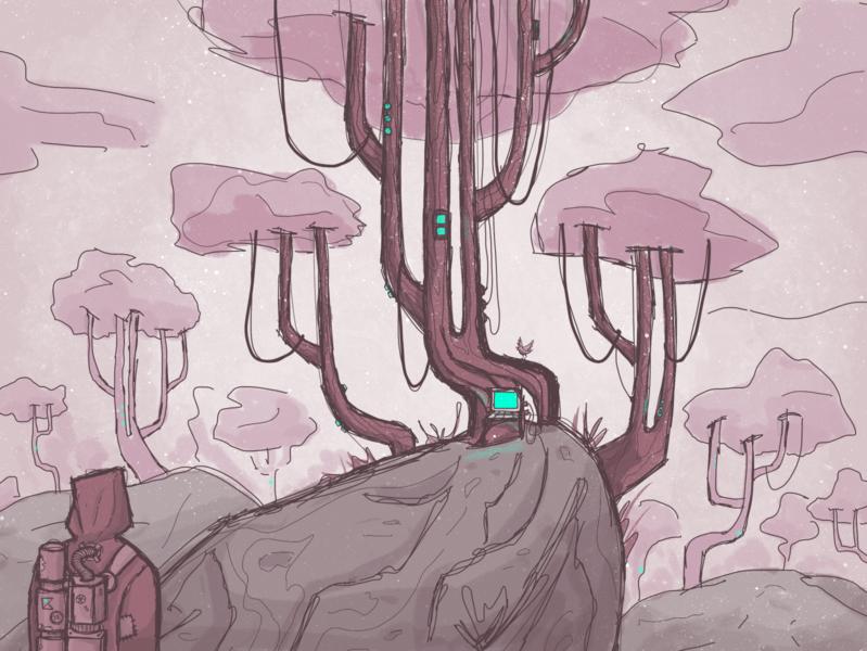 Hack the planet 0x1 machine terminal dystopian procreate color art hacker cyberpunk concept art illustration