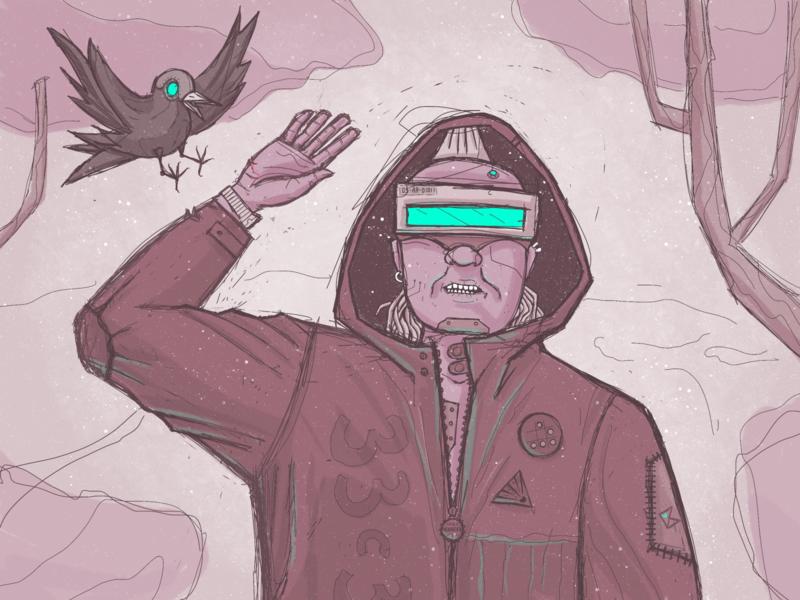 Hack the planet 0x2 artwork dystopian concept art procreate hacker cyberpunk color art illustration