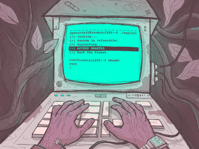 Hack the planet 0x3 terminal machine dystopian hacker cyberpunk procreate artwork color art illustration